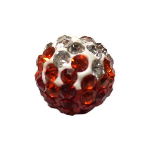 Shamballa 10 mm Kugel tricolore rot 1Stk.