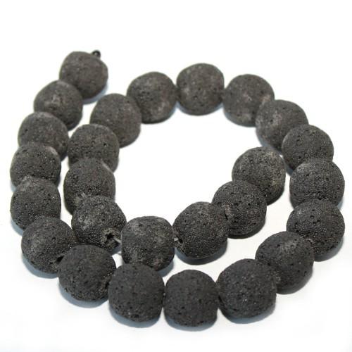 Lavaperlen synthetisch schwarz 15-16mm 1Strang (26Stk.)