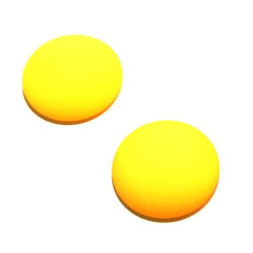Cabochon Polaris rund flach matt gelb 20mm 2 Stück