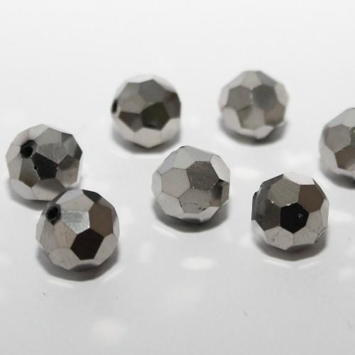 Glasperle Kugel facettiert silber glänzend10mm 10Stk.