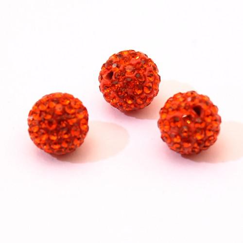 Shamballa 12 mm Kugel orange rot 1Stk.