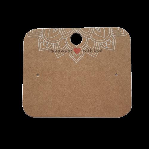 Ohrstecker Karten Karton Mandala braun Handmade with Love 6x5cm 50Stk.