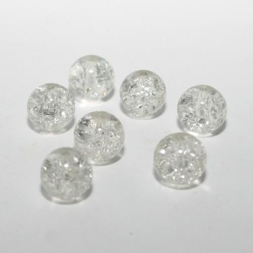 Glasperle Crackle Kugel glatt weiß 10mm 20Stk.