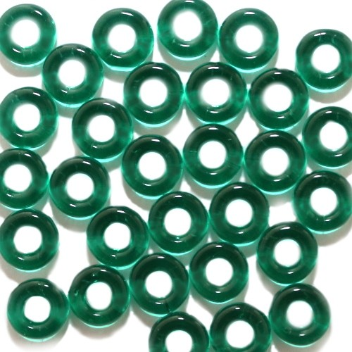 Glasperle Ring glatt moos grün Großloch 10x3mm 30Stk.