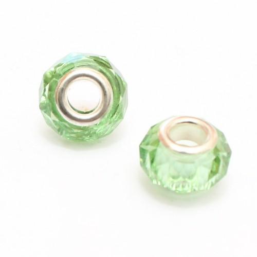 Charms Kristall - Glas facettiert hellgrün transparent glänzend 14x10mm 2Stk.