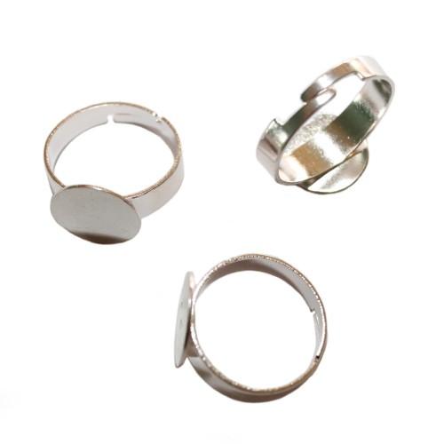 Ring verstellbar 17 - 21mm Träger Link Platte Cabochon versilbert für ab 12mm 3 Stück