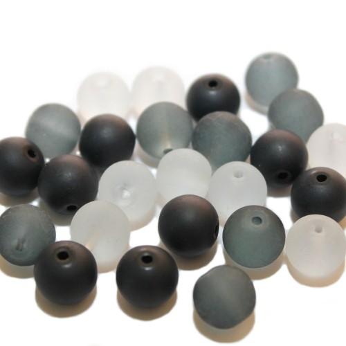 Glasperle Kugel matt gefrostet mix schwarz/grau/weiß Töne 10mm 25Stk. 3 Farben