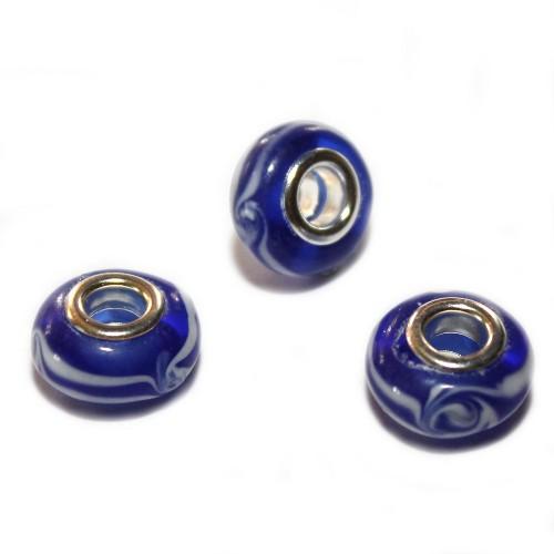 Charms Murano Glas Blau mit weißen Streifen 13x9mm 3Stk.