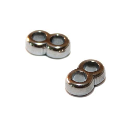 Metallperle Edelstahl Ring silber Doppelloch Großloch 7x11mm 2Stk.