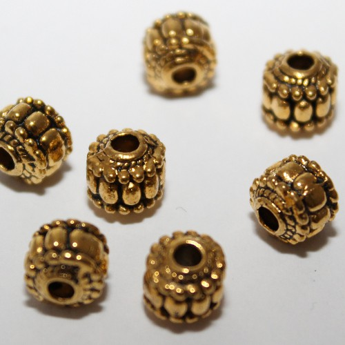 Metallperle Spacer Kugel gerillt Antik Gold 7,5x7mm 8Stk.