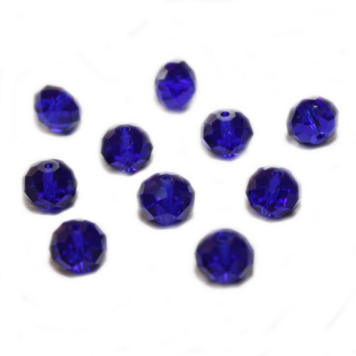 Glasperle Kristallglas Rhombe Bicone facettiert blitz blau glänzend 10x8mm 10Stk.