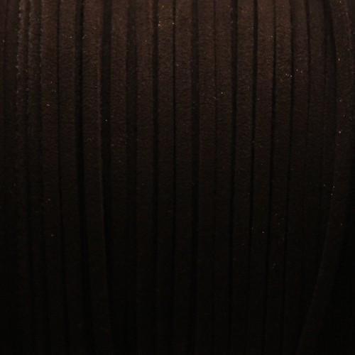 Wildlederimitat weich flach 3x1,5mm Microfaser schwarz 5 m lang
