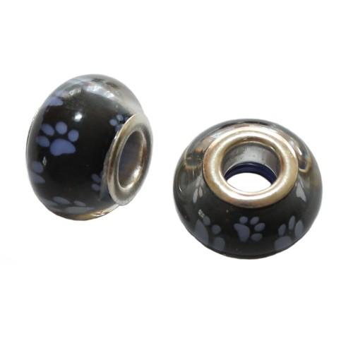 Charms Glas Silber transparent Katze Hund Bär schwarz mit violetter Pfote Tatze 14x10mm 2Stk.