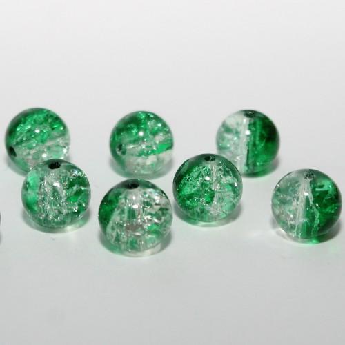Glasperle Crackle Kugel glatt Grün und weiß 10mm 30Stk.