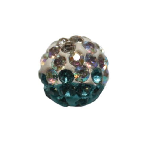 Shamballa 10 mm Kugel tricolore hell blau 1Stk.
