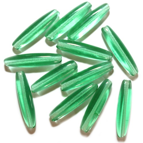 Glasperle Murano Glas Grün transparent Stab Rohr 26 x 6mm 12Stk.