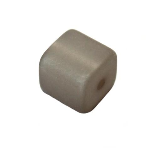 Polaris Perle Würfel matt grau 10x10mm 1 Stk.