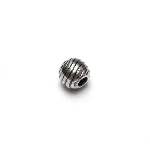 Acrylperle in Metalloptik Kugel Streifen Großloch Antiksilber 15x14mm 6Stk.