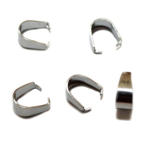 Metallperle Edelstahl Anhängerschlaufe Collierschlaufe silber 10x4,5mm 5Stk.