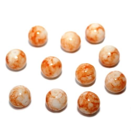 Glasperle Kugel glatt marmoriert orange 10mm 30Stk.