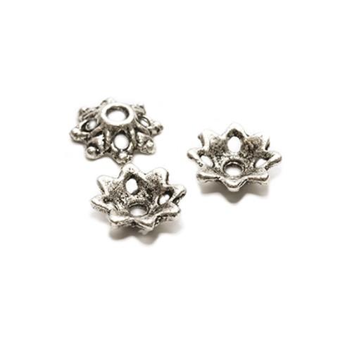 Metallperle Endkappe Perlenkappe Blume Antiksilber 8x3mm 50Stk.