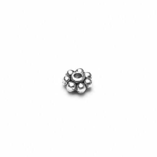 Metallperle Spacer Rondelle Blume Antiksilber 5x2,3mm 40Stk.