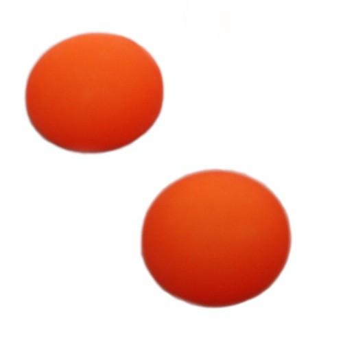 Cabochon Polaris rund flach matt orange 20mm 2 Stück