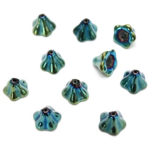 Glasperle Tulpe Engel Rock grün blau Töne 12x9,5mm 10Stk.