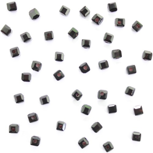 Glasperle Würfel glatt schwarz 4,5 x 4,5mm 40Stk.