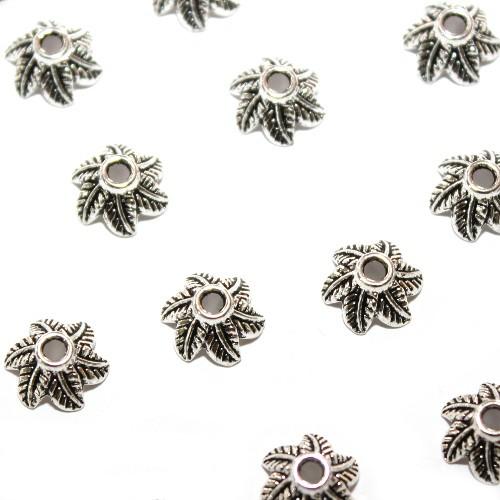 Metallperle Endkappe Perlenkappe Blume Blatt Antiksilber 10,5x5mm 25Stk.