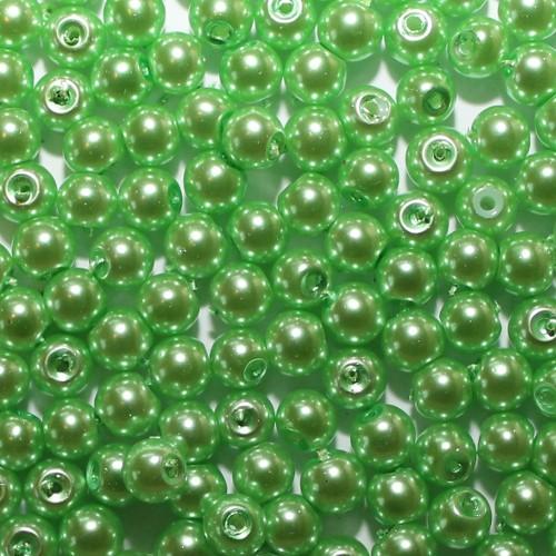 Glasperle Wachsperle Kugel glatt grün glänzend 6mm 60Stk.
