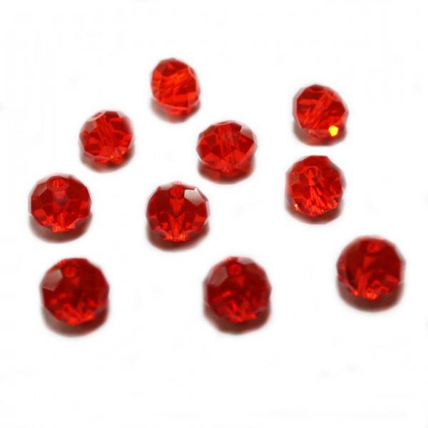 Glasperle Kristallglas Rhombe Bicone facettiert rot glänzend 10x8mm 10Stk.