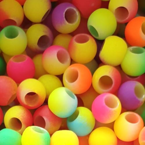 Acrylperle Kugel Mix-bunt Neon-färbig Großloch 10mm 50Stk.