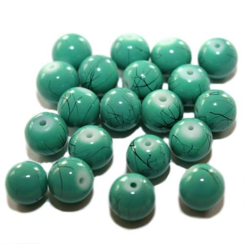 Kugeln matt gefrostet 8 mm 70 Stück seegrün-teal Glasperlen Mix
