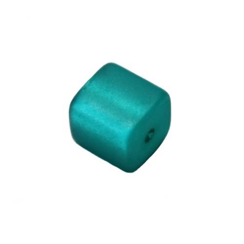 Polaris Perle Würfel matt smaragd 10x10mm 1 Stk.