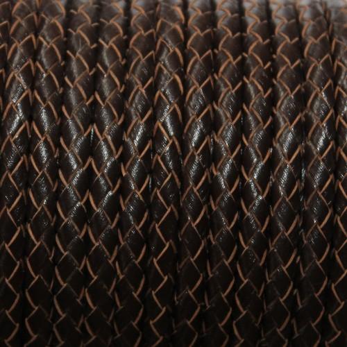 Lederband echt Leder glatt geflochten dunkel braun 5mm 1m lang