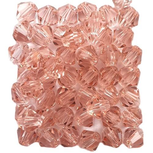 Glasperle Kristallglas Rhombe Bicone Doppelkegel facettiert rosa glänzend 4x4mm 50Stk.