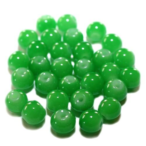 Glasperle Kugel glatt hell grün 8mm 30Stk.