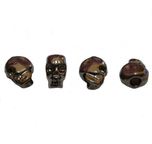 Metallperle Schädel Totenkopf Skull schwarz/anthrazit 12x10mm 5Stk.