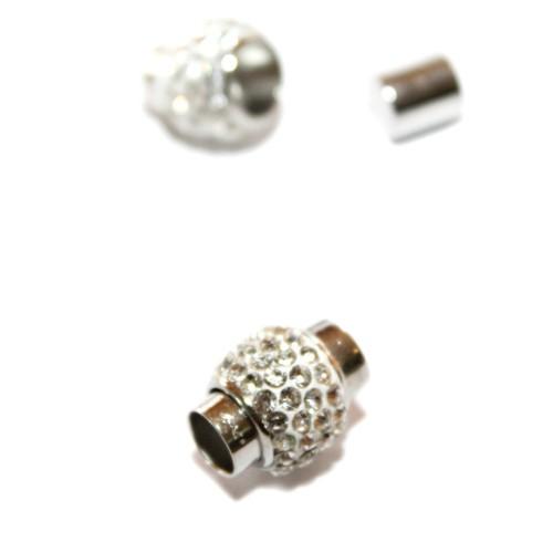 Magnetverschluß Tube mit Strass Farbe weiß silber Großloch 17x14mm 1Stk.