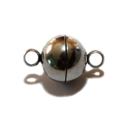 Magnetverschluß Edelstahl Kugel mit Öse klein silber 13x8mm 1Stk.