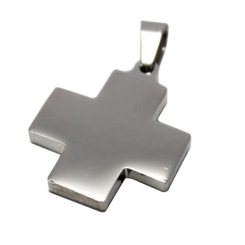 Edelstahl Metallanhänger Kreuz silber glänzend 25mm 1Stk.