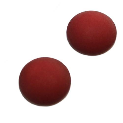 Cabochon Polaris rund flach matt rubin rot 25mm 2 Stück
