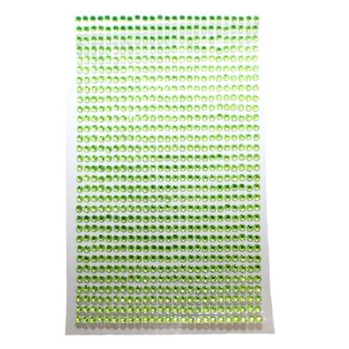 Strass Steine 3mm rund auf Folie zum Kleben hell grün ca. 775 Stk.140x85mm