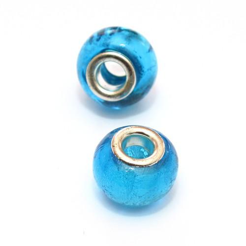 Charms Murano Glas Blau 14x10mm 2Stk.