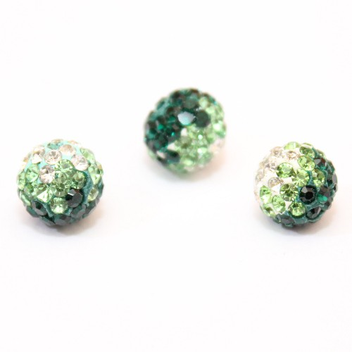 Shamballa 10 mm Kugel tricolore grün 1Stk.