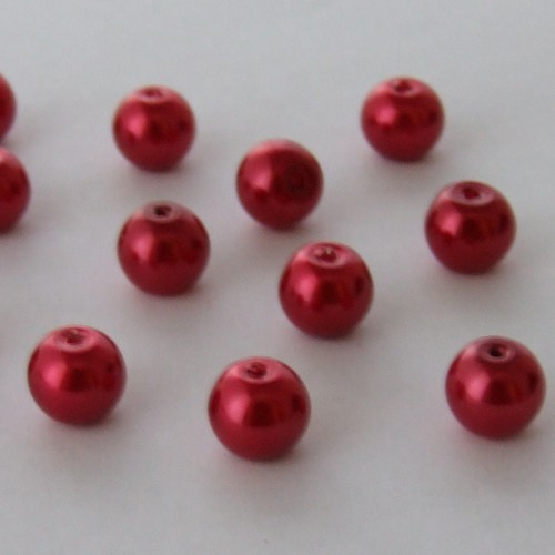 Glasperle Wachsperle Kugel glatt rot glänzend 8mm 30Stk.
