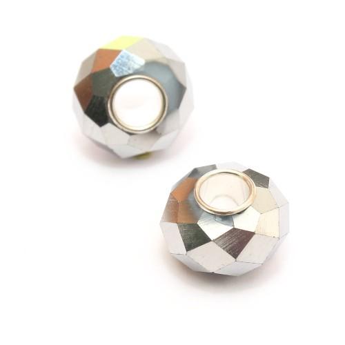 Charms Glas facettiert silber glänzend 14x10mm 2Stk.
