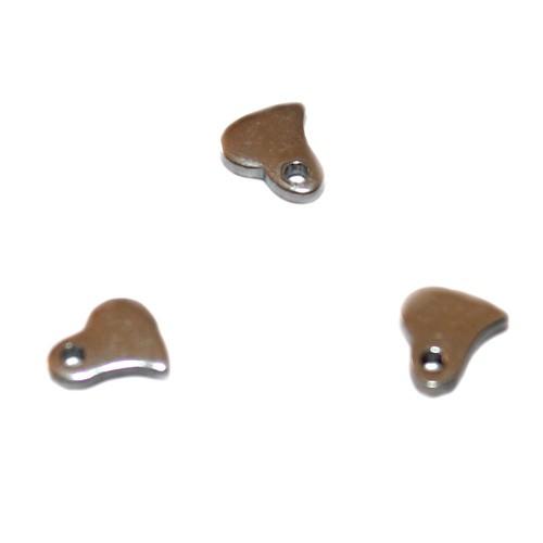 Metallperle Edelstahl Anhänger Herz klein flach silber 6x6mm 3Stk.