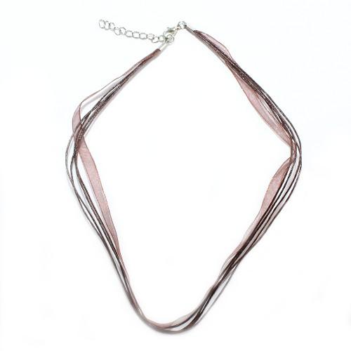 Organza / Wachs Halsband dunkel braun mit Karabinerverschluß und Verlängerungskette 43cm 2Stk.